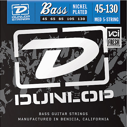 Dunlop Nickel Plated Steel Bass Strings - Medium 5-String with 130