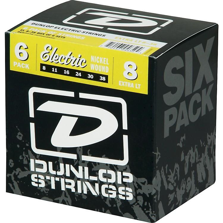 DunlopNickel Plated Steel Electric Guitar Strings Extra Light 6-Pack