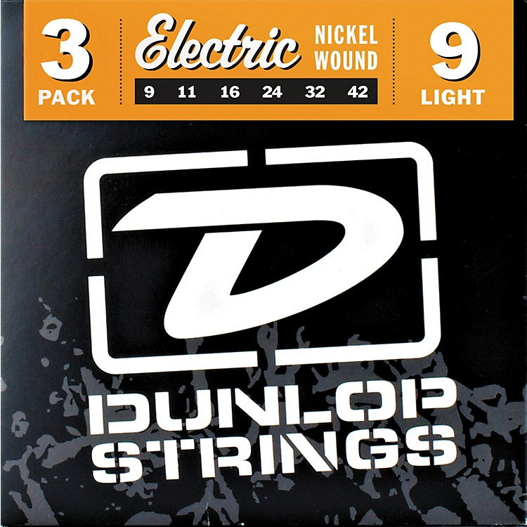 DunlopNickel Plated Steel Electric Guitar Strings Light 3-Pack