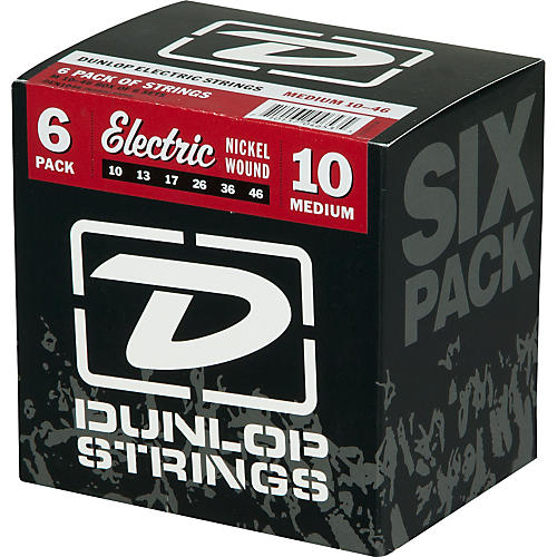 Dunlop Nickel Plated Steel Electric Guitar Strings Medium 6-Pack