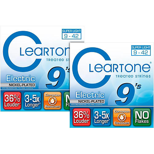 Cleartone Nickel-Plated Super-Light Gauge Treated Electric Guitar Strings (2-Pack)-thumbnail