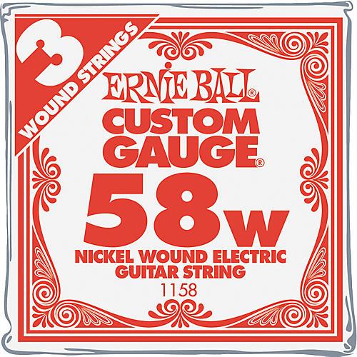 Ernie Ball Nickel Wound Single Guitar Strings 3-Pack .058 Gauge 3-Pack