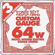 Ernie Ball Nickel Wound Single Guitar Strings 3-Pack .064 Gauge 3-Pack