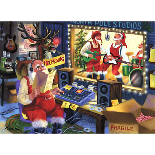 Art Strings North Pole Recording Co Greeting Cards 10-Pack-thumbnail