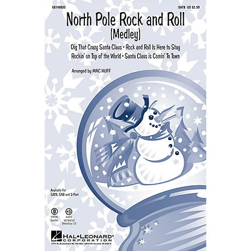 Hal Leonard North Pole Rock and Roll (Medley) 2-Part Arranged by Mac Huff