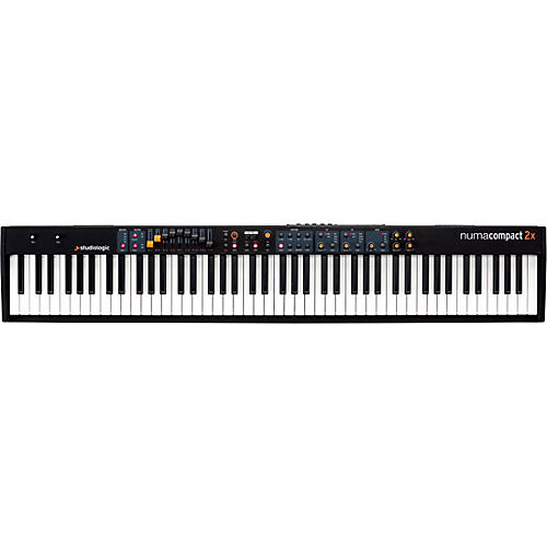 studiologic numa compact 2x semi weighted keyboard with aftertouch black 88 key musician 39 s friend. Black Bedroom Furniture Sets. Home Design Ideas