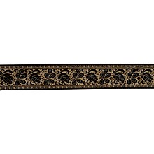 Fender Nylon Jacquard Guitar Strap Metallic Gold with Black Rose 2 in.