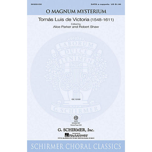 G. Schirmer O Magnum Mysterium VoiceTrax CD Composed by De Victoria
