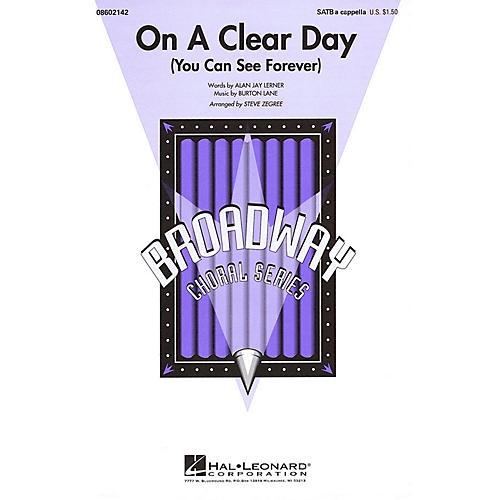 Hal Leonard On a Clear Day (You Can See Forever) SATB a cappella arranged by Steve Zegree-thumbnail