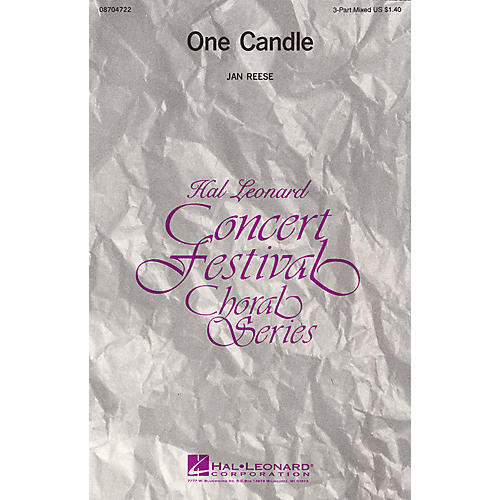 Hal Leonard One Candle 3-Part Mixed composed by Jan Reese-thumbnail