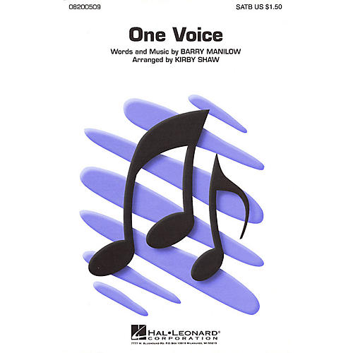 Hal Leonard One Voice SATB a cappella by Barry Manilow arranged by Kirby Shaw