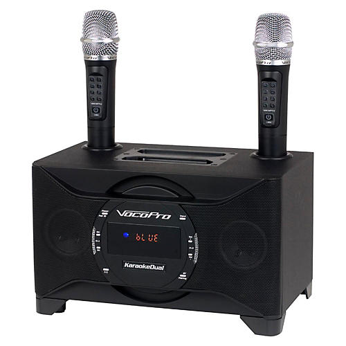 Open Box VocoPro KARAOKEDUAL All-In-One Karaoke Boom Box with Wireless Mics