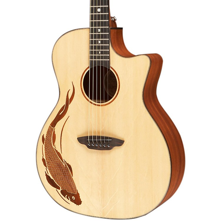 Luna Guitars Oracle Grand Concert Series Koi Acoustic-Electric Guitar Natural Koi Design