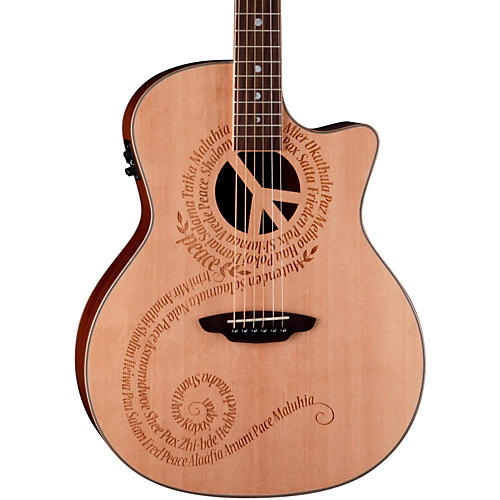 Luna Guitars Oracle Grand Concert Series Peace Acoustic-Electric Guitar Natural Peace design