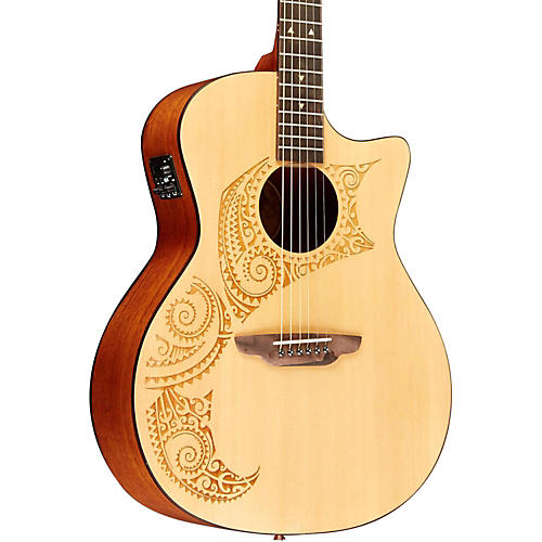 Luna Guitars Oracle Tattoo Acoustic-Electric Guitar with USB-thumbnail