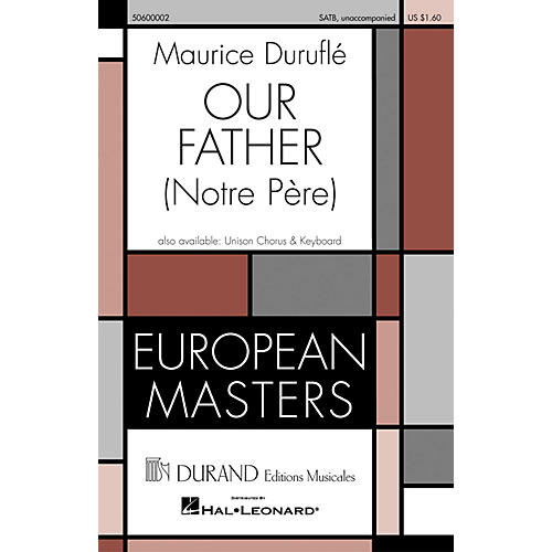 Editions Durand Our Father (Notre Pére) (SATB unaccompanied) composed by Maurice Duruflé