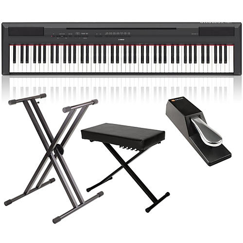 yamaha p 115 88 key weighted action digital piano packages black home package musician 39 s friend. Black Bedroom Furniture Sets. Home Design Ideas