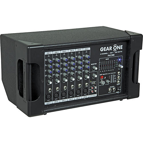 Gear One PA1300 6 Ch Powered Mixer 300 wt