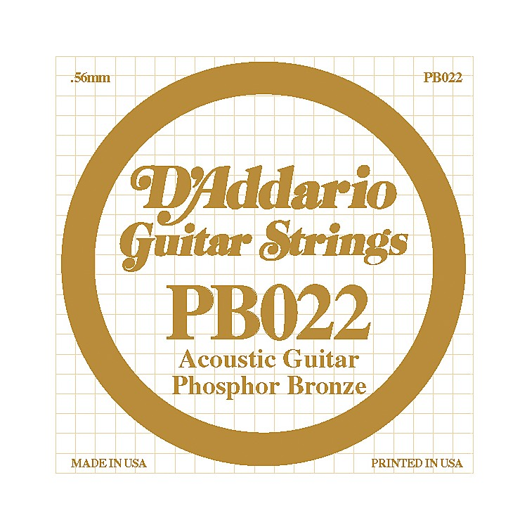 D'Addario PB022 Phosphor Bronze Single Acoustic Guitar String  Single