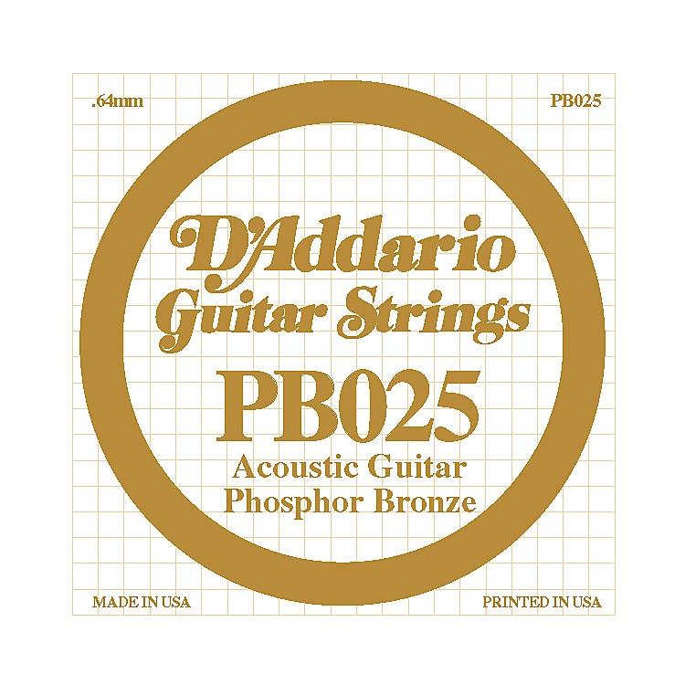 D'AddarioPB025 Phosphor Bronze Single Acoustic Guitar StringSingle