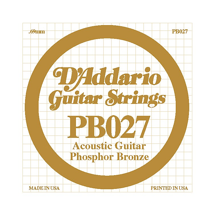 D'Addario PB027 Phosphor Bronze Guitar Strings  Single