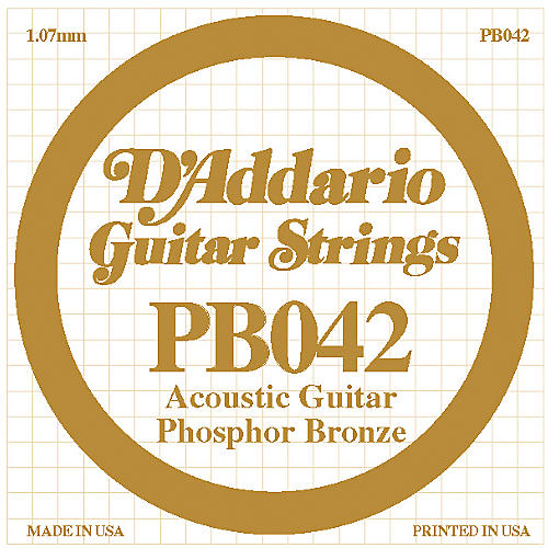 D'Addario PB042 Phosphor Bronze Guitar Strings  .042 Guage