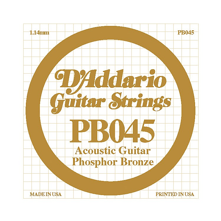 D'Addario PB045 Phosphor Bronze Single Acoustic String  Single