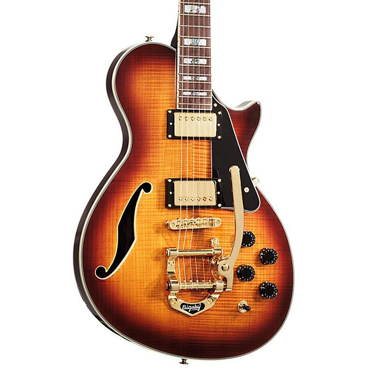 ESP PC-1V Paramount Semi-Hollow Electric Guitar with Bigsby Brown Sunburst Gold Hardware