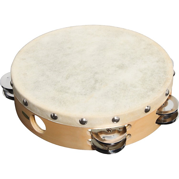 Sound Percussion Labs PDM2016M-R Tambourine with Calfskin Head  10 Inches