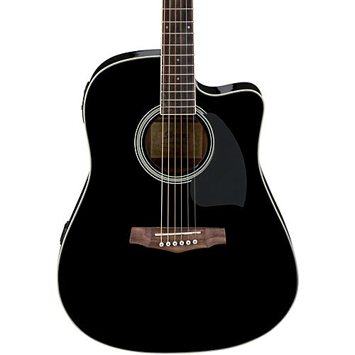 Ibanez PF Series PF15ECE Dreadnought Cutaway Acoustic-Electric Cutaway Guitar Gloss Black