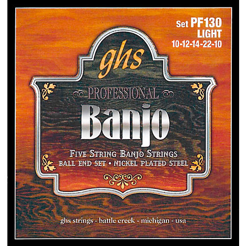 GHS PF130 Nickel Ball End 5-String Banjo Strings