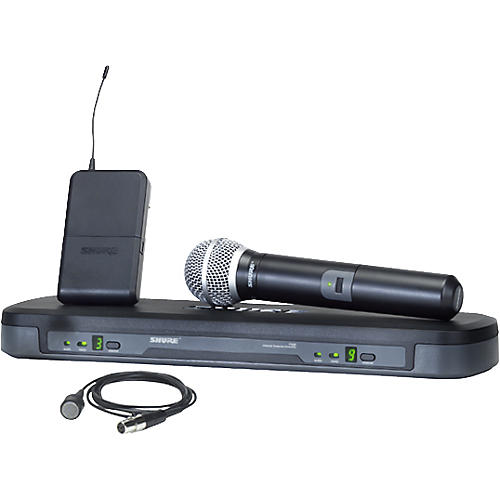 Shure PG Dual Channel Lavalier and Handheld Wireless Microphone System-thumbnail