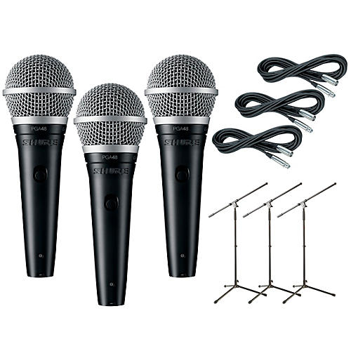 Shure PG48 3-Pack Mic and Stand Kit