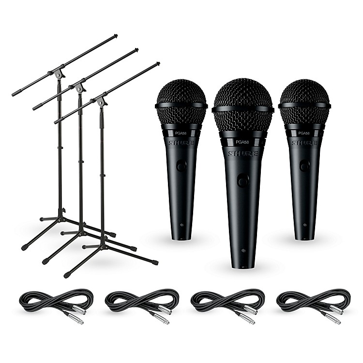 Shure PG58 3-Pack Mic and Stand Kit