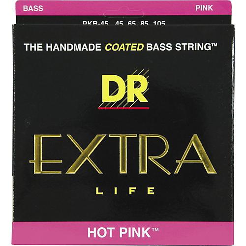 DR Strings PKB-45 Hot Pink 4 String Coated Medium Bass Guitar Strings