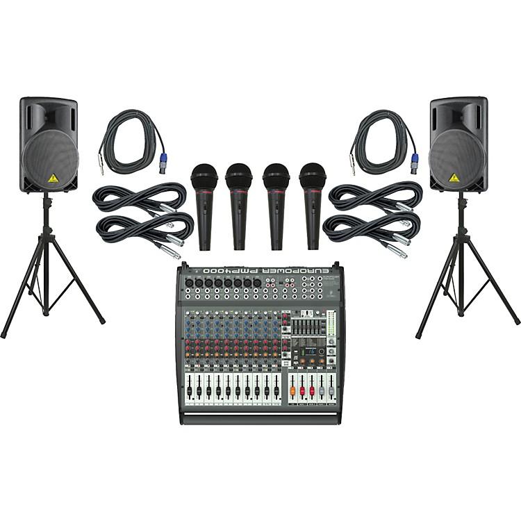 BehringerPMP4000 / B215XL Powered Mixer Mains & Mics Package