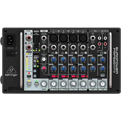Behringer PMP500MP3 Ultra-Compact 500-Watt 8-Channel Powered Mixer with MP3 Player-thumbnail
