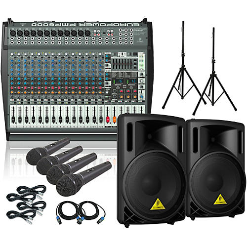 Behringer PMP6000 / B215XL Powered Mixer Mains & Mics Package