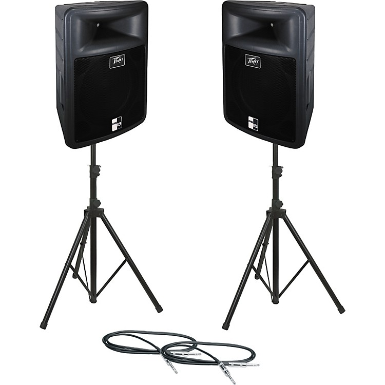 Peavey PR 15 Speaker Pair with Stands and Cables