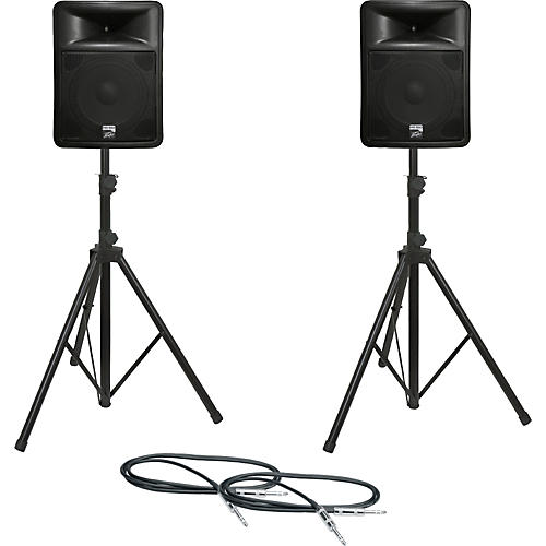 Peavey PR 15D Speaker Pair with Stands and Cables