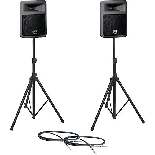 Peavey PR12D Speaker Pair with Stands and Cables