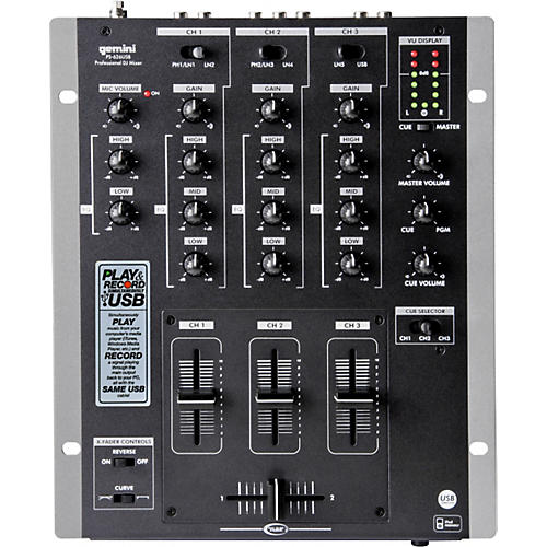 Gemini PS-626USB 3-Channel USB DJ Mixer