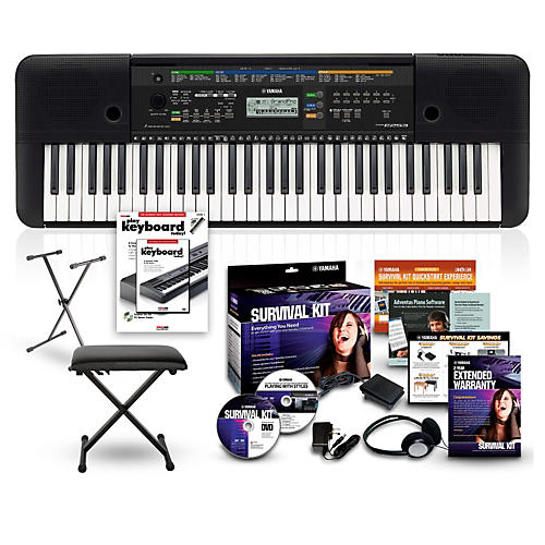 yamaha psre253 61 key portable keyboard package musician