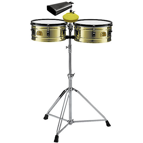 Pearl PTB5145 Timbale Set and Stand with Clave Block and Cowbell