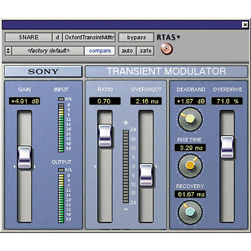 Sony PTL-TMDG2 Oxford Transient Modulator Plug-in for Pro Tools LE