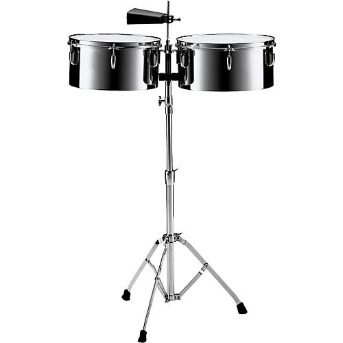 Pearl PTS5134 13 in. and 14 in. Steel Timbales with Cowbell and Stand-thumbnail