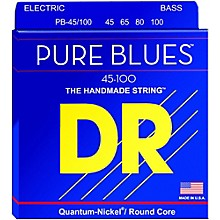 DR Strings PURE BLUES Medium-Lite 4-String Bass Strings (45-100)