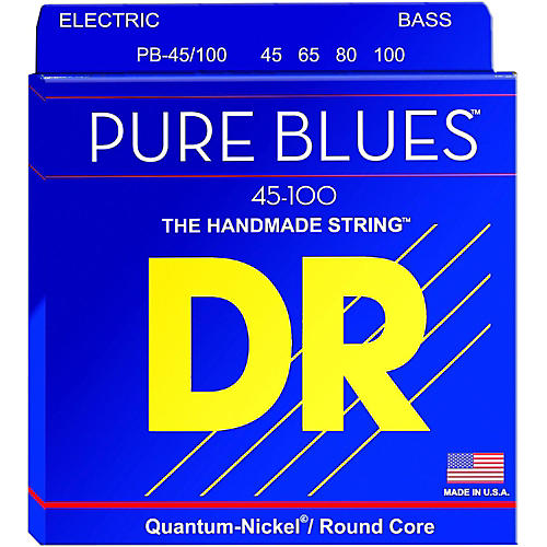 DR Strings PURE BLUES Medium-Lite 4-String Bass Strings (45-100)