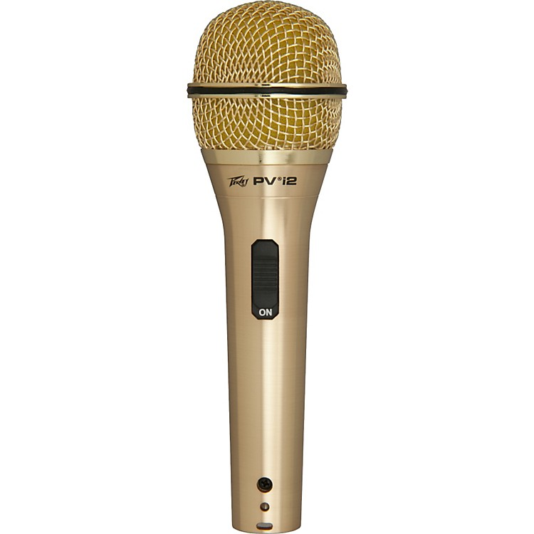 Peavey PVI 2 White 1/4 Dynamic Handheld Microphone gold