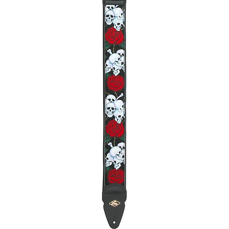 LM Products Padded Designer Nylon Guitar Strap Skulls and Roses